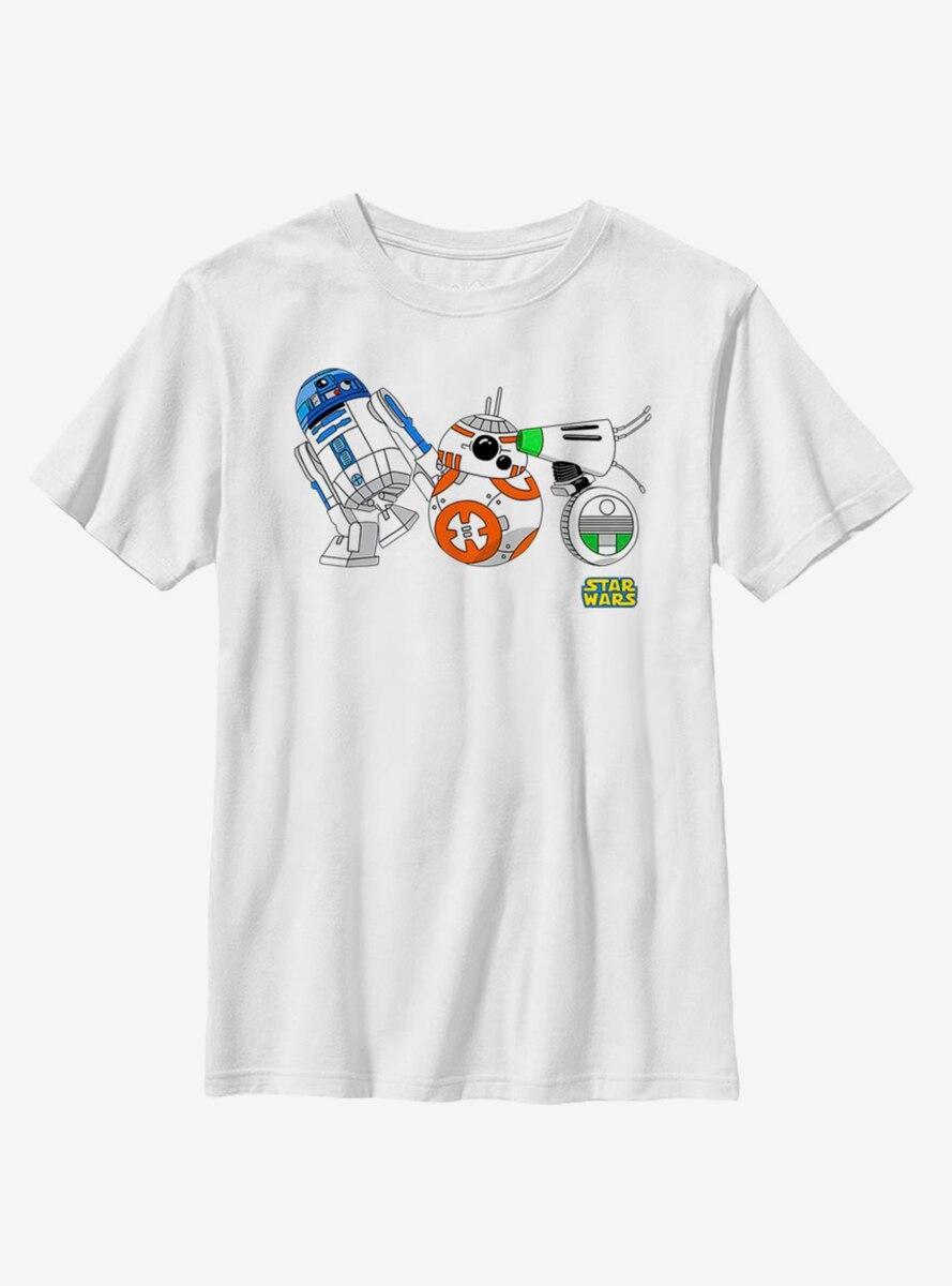 Star Wars Episode IX The Rise Of Skywalker Cartoon Droid Lineup Youth T-Shirt