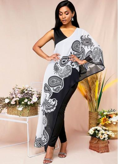 Boho Vibe Paisley Print Cape Sleeve Jumpsuit - 8