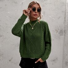 Solid Cable Knit Funnel  Neck Sweater