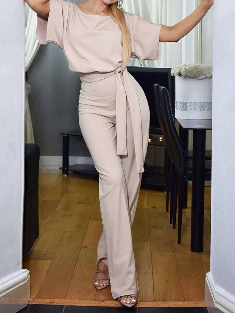 Ericdress Loose Plain Full Length High Waist Straight Jumpsuit