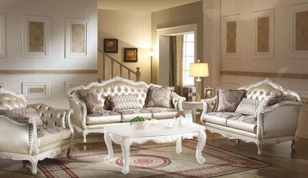 Chantelle Collection 53540SLC 3 PC Living Room Set with Sofa  Loveseat and Chair in Rose Gold and Pearl White