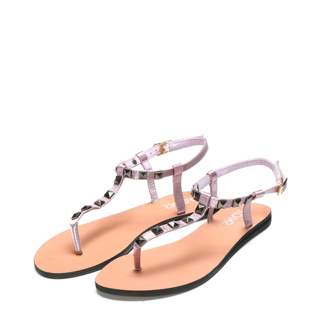 Yoins Purple T-bar Design Studded Embellished Flat Sandals