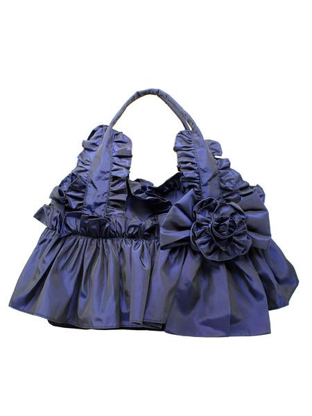 Milanoo Classic Lolita Handbag Victorian Style 3D Flower Bow Ruffle Lolita Bag