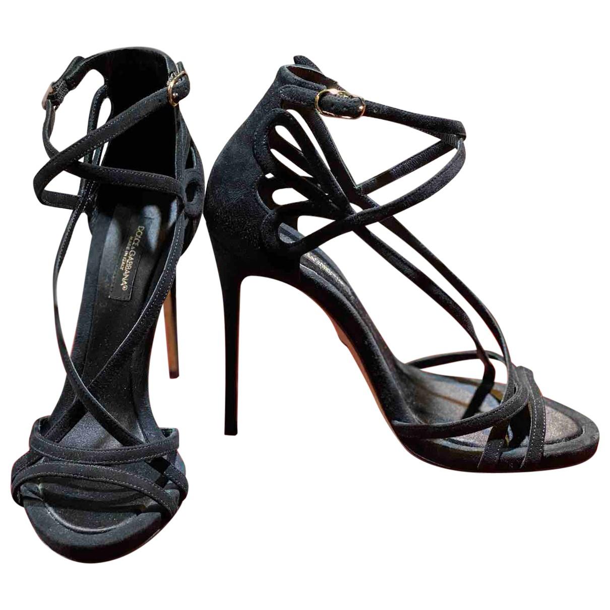 Dolce & Gabbana N Black Suede Sandals for Women 35 EU