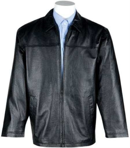 Mens Lamb Leather with Zip-Out Liner JD Dress Jacket Black