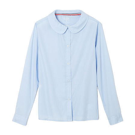 French Toast Little & Big Girls Long Sleeve Button-Down Shirt, 5 , Blue