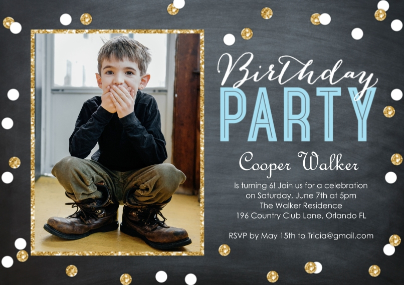 Birthday Party Invites 5x7 Cards, Premium Cardstock 120lb with Scalloped Corners, Card & Stationery -Birthday Party Confetti