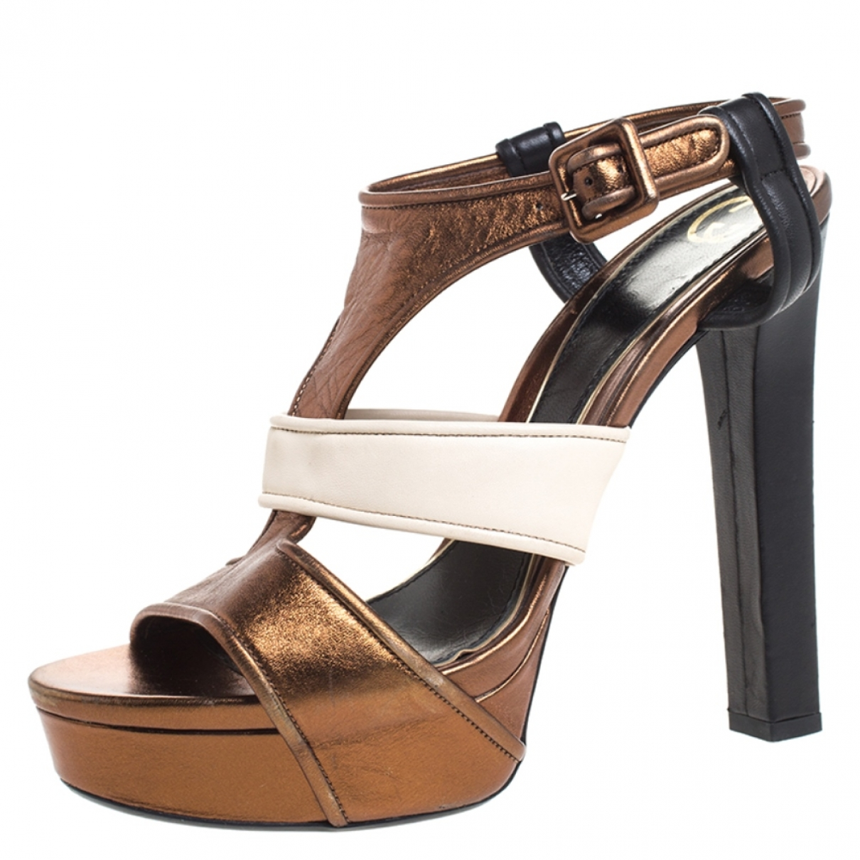 Gucci \N Metallic Leather Sandals for Women 9.5 US