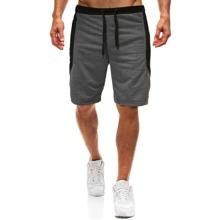 Men Contrast Panel Drawstring Shorts