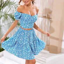 Ditsy Floral Shirred Back Bardot Top & Ruffle Hem Skirt Set