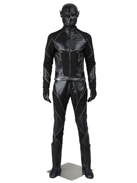 Milanoo Halloween Carnaval Disfraz DC comics The Flash negro con guantes&con pantalones&Capucha&con Top