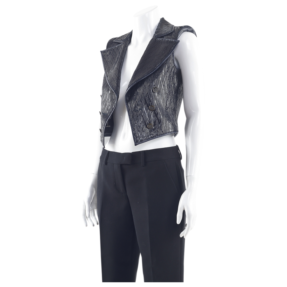 Chanel - Veste   pour femme en cuir - marine