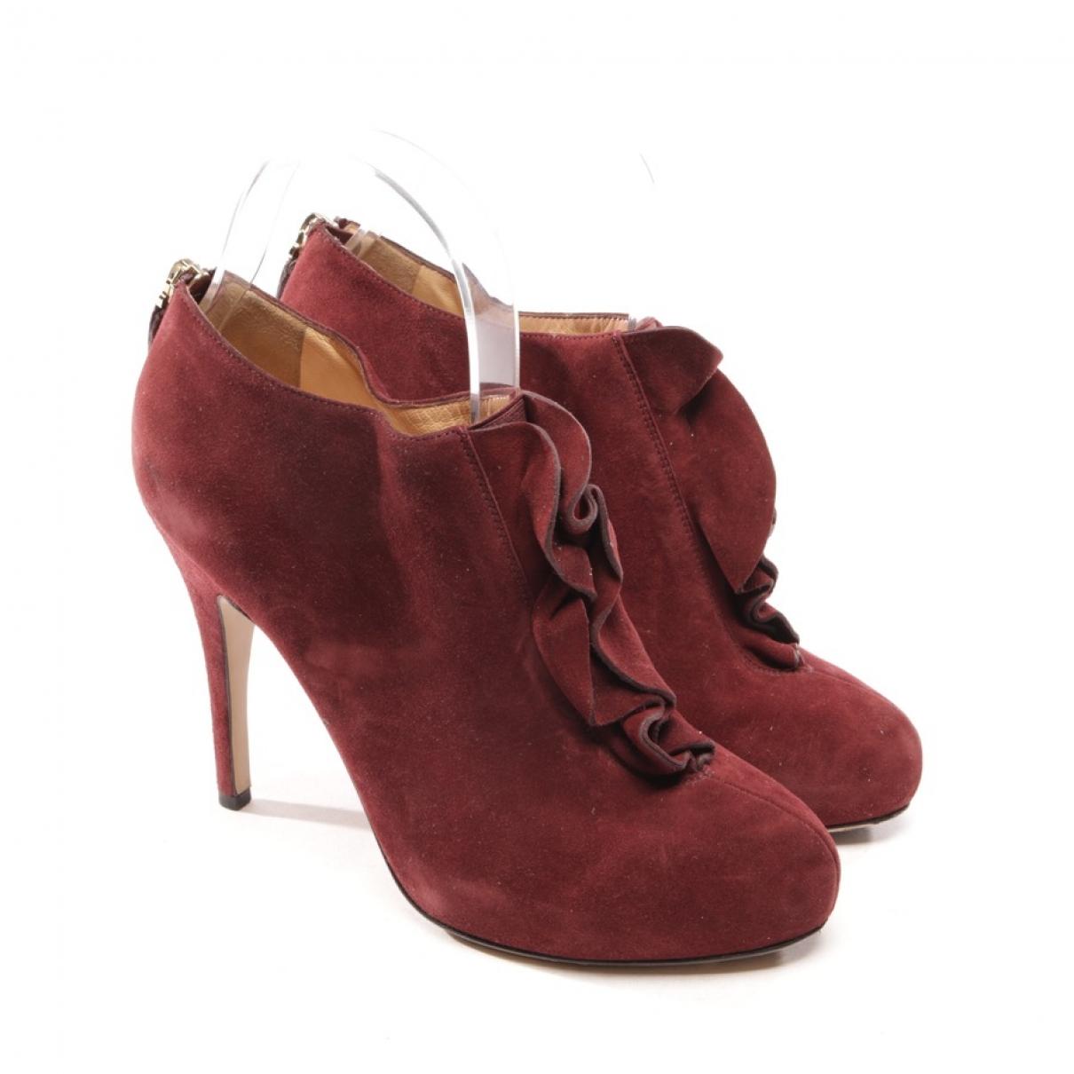 Valentino Garavani - Boots   pour femme en suede - rouge