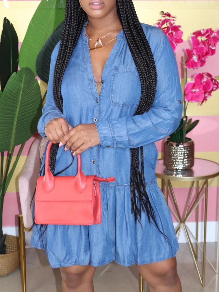 LW lovely Casual Fold Design Blue Knee Length Denim Dress