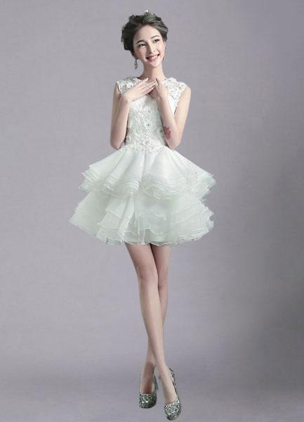Milanoo Ivory Wedding Dress Illusion Rhinestone Tiered Short Wedding Gown