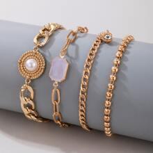 4pcs Rhinestone Decor Chain Bracelet