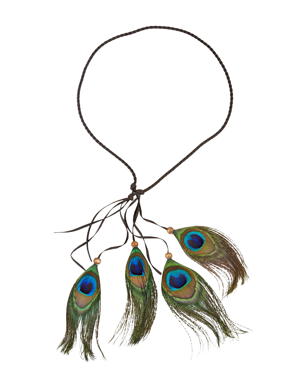 Kostuemzubehor Halskette Indianer mit Pfauenfedern Farbe: gruen