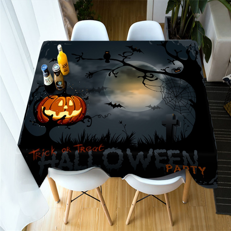 3D Pumpkin Lantern and Halloween Bats Printing Polyester Table Cover Cloth