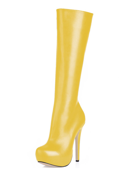 Milanoo Botas hasta la rodilla de PU de puntera de forma de almendra Color nude 14cm de tacon de stiletto con cremallera Primavera Otoño