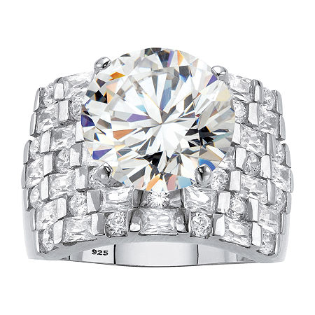 DiamonArt Womens White Cubic Zirconia Platinum Over Silver Cocktail Ring, 6 , No Color Family