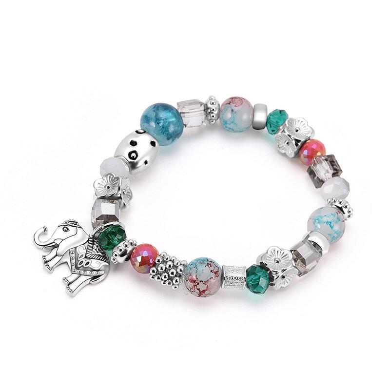 Bohemian Beaded Bracelets Colorful Irregular Flower Beads Elephant Charm Bracelet for Women