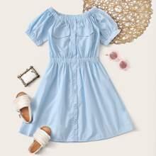 Maedchen A Linie Kleid mit Knopfen vorn und Tasche