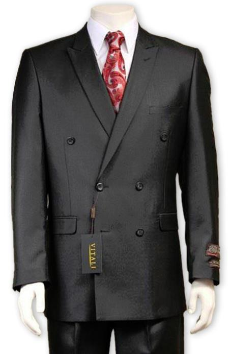 Mens Sharkskin Sheen Black Double Breasted suit Pleated Pants Side