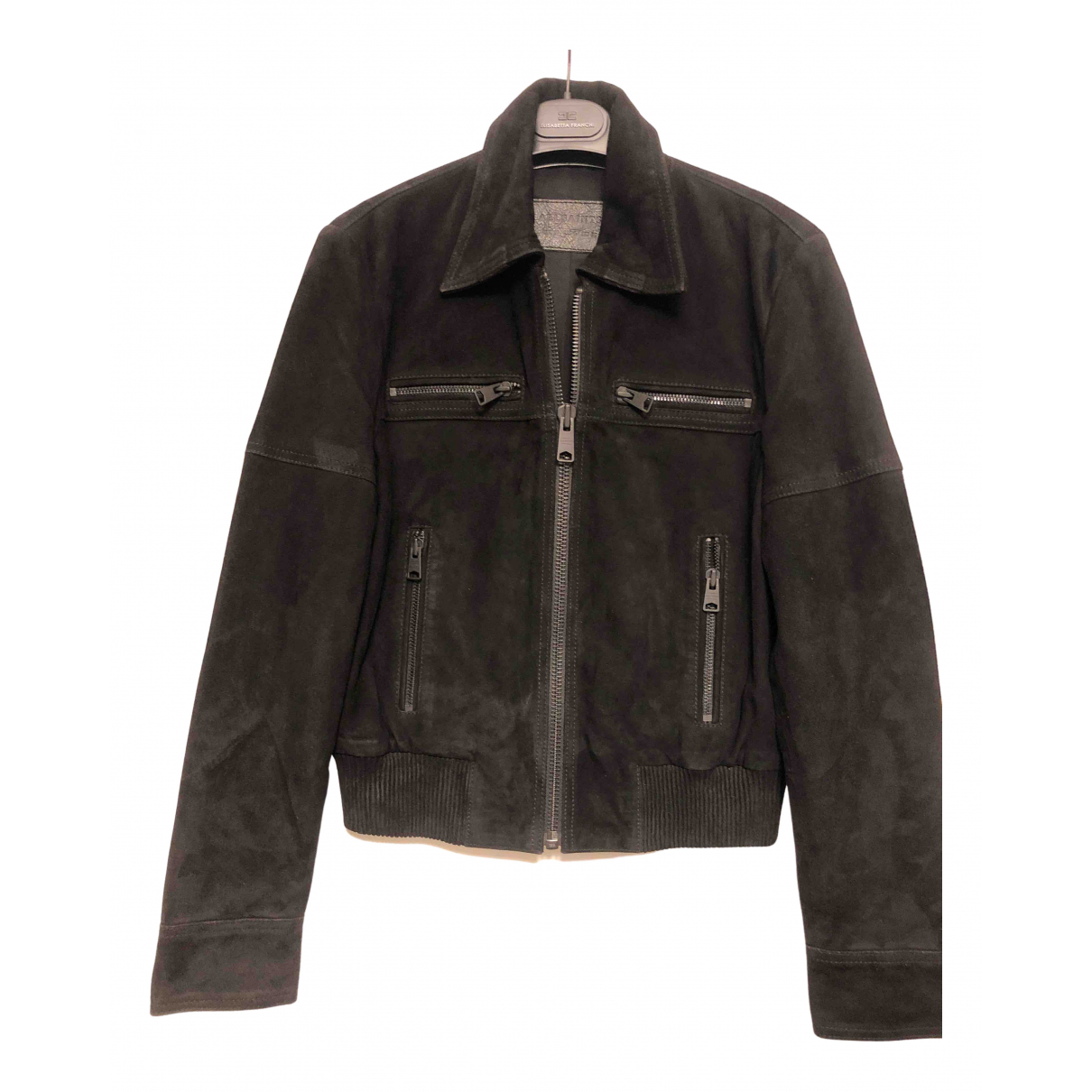 All Saints \N Jacke in  Schwarz Veloursleder