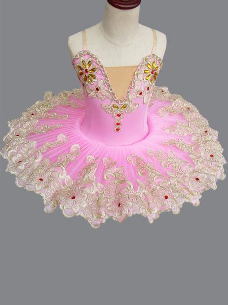 Milanoo Ballet Dance Costume Pink Lace Embroidered Beaded Tutu Ballerina Dress