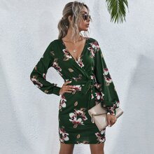 Floral Print Surplice Front Belted Fitted Dress