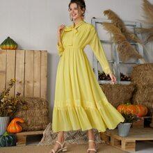 Tie Neck Lace Panel Chiffon Dress