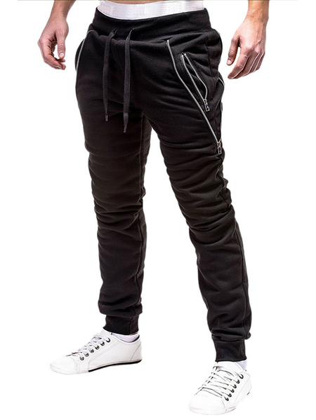 Yoins Men Casual Irregular Zipper Pocket Jogger Sweatpants