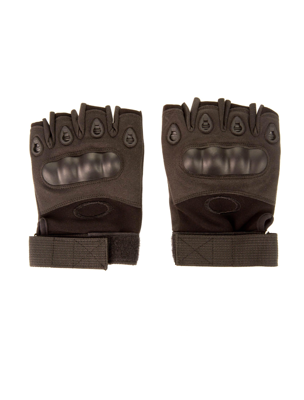 Kostuemzubehor Handschuhe fingerlos mit Protektoren schwarz