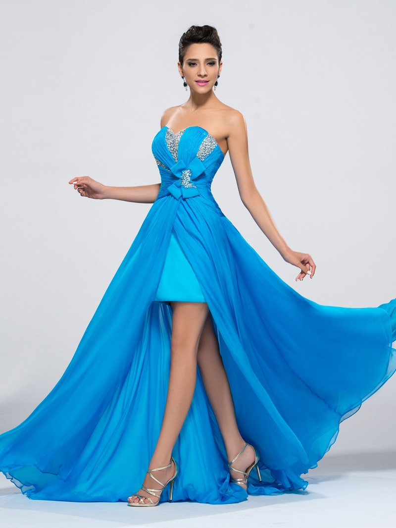 Sweetheart Chiffon Split Front Beading Bodice Evening Dress