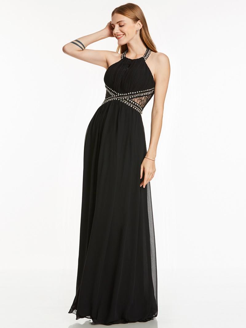 Ericdress A Line Halter Neck Beaded Pleats Evening Dress