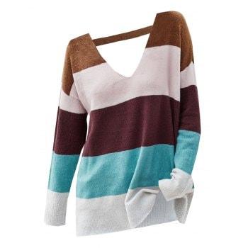 Color Blocking Cutout Drop Shoulder Sweater