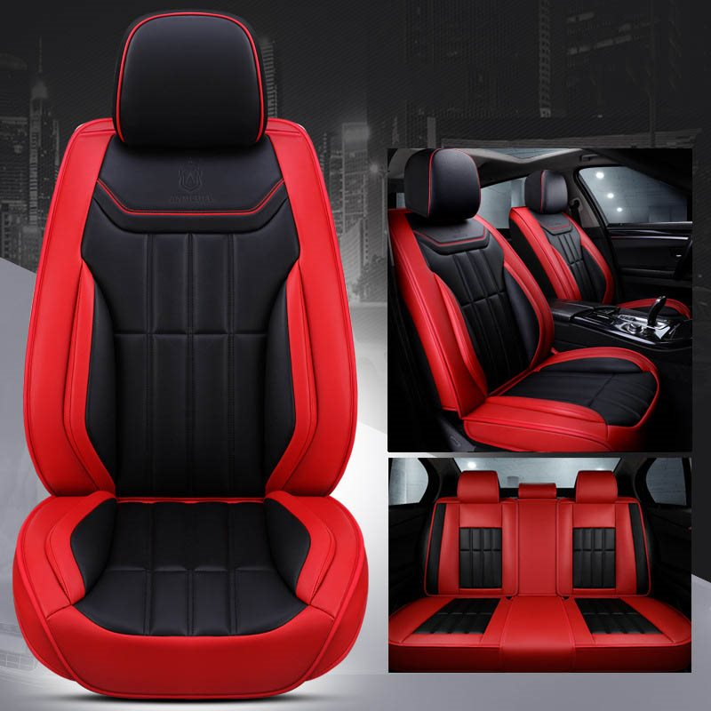 Sport Style Environment-Friendly Leather Material No Fading Easy Cleaning No-Odor Universal Fit Car Seat Covers