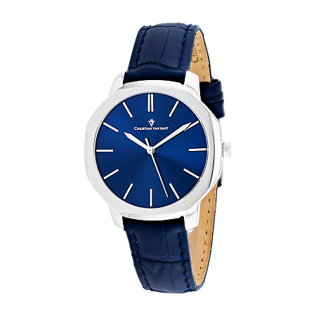 Christian Van Sant Womens Blue Leather Strap Watch-Cv0502, One Size , No Color Family