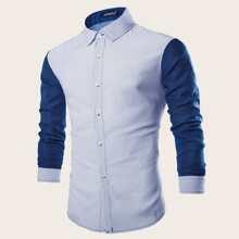 Maenner Hemd mit Punkten Muster und Farbblock