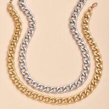 2 piezas collar de cadena metalico