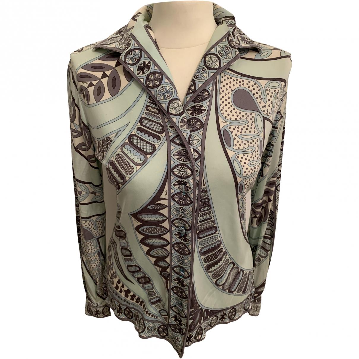 Emilio Pucci \N Green Silk  top for Women 38 FR