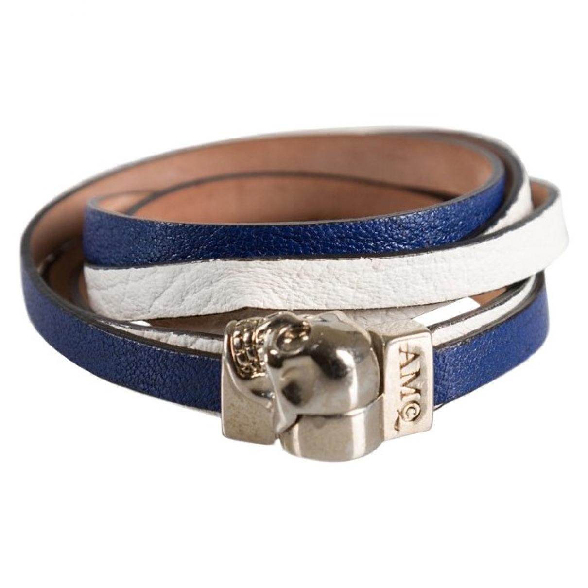 Alexander Mcqueen - Bracelet   pour femme en cuir - bleu