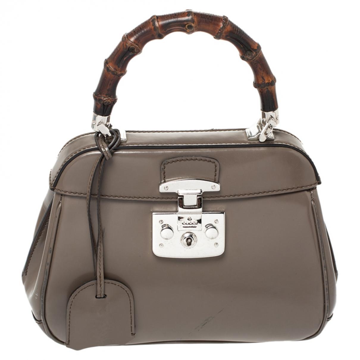 Gucci Bamboo Grey Leather handbag for Women N