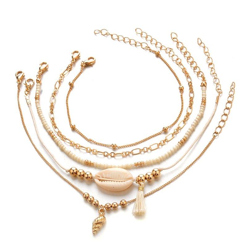 Bohemian Multilayer Gold Bracelet Set 5PCS Shell Conch Beads Chain Charm Bracelet for Women