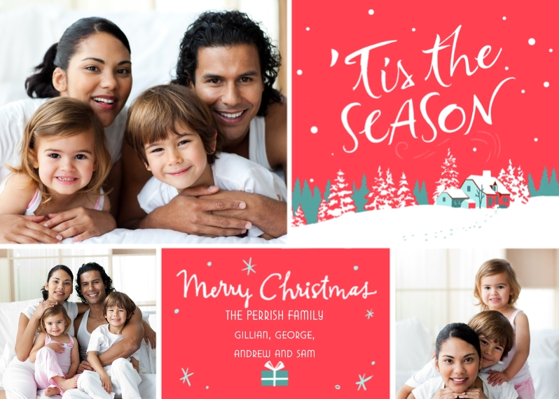 Christmas Photo Cards 5x7 Cards, Premium Cardstock 120lb with Rounded Corners, Card & Stationery -Merry Season