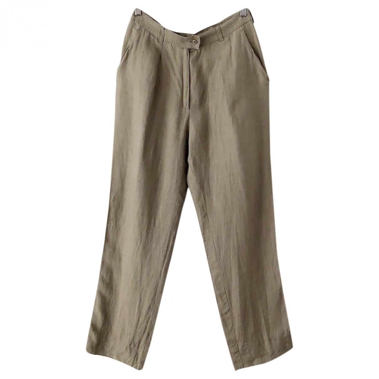 Sport Max \N Green Linen Trousers for Women 46 IT