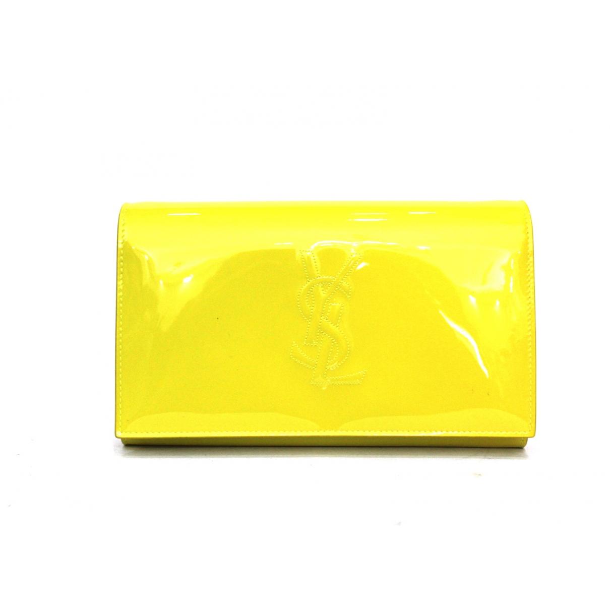 Yves Saint Laurent Belle de Jour Clutch in  Gelb Lackleder