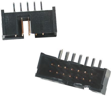 TE Connectivity AMP-LATCH Series, 2.54mm Pitch, 26 Way 2 Row Shrouded Right Angle PCB Header, Through Hole