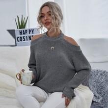 Cold Shoulder Cut-out Back Sweater