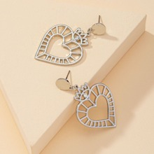 Hollow Out Heart Charm Drop Earrings